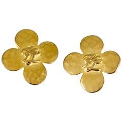 Karl Lagerfeld Four Leaf Clover Logo Earrings, 1990s