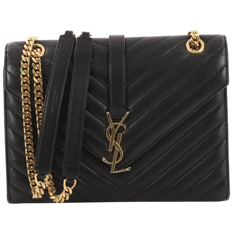 Saint Laurent Classic Monogram Satchel Matelasse Chevron Leather Medium For  Sale 4749b27377e5c