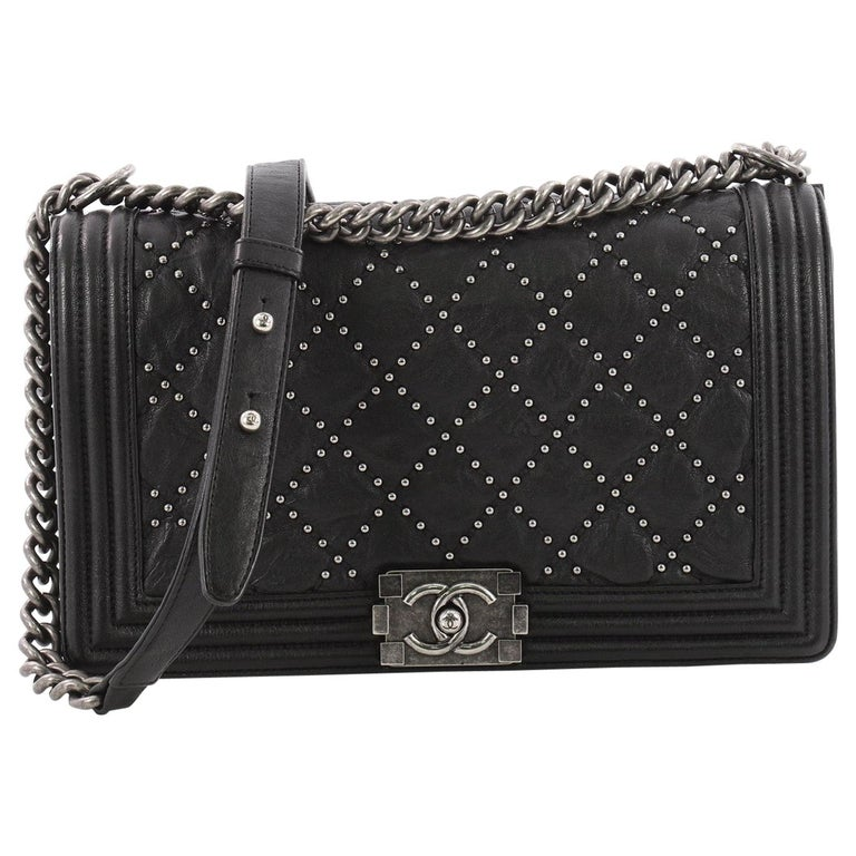 d399d56b3d6454 Chanel Boy Flap Bag Quilted Studded Distressed Calfskin New Medium For Sale