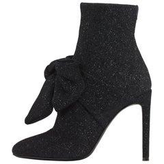 Giuseppe Zanotti Bow Black Sparkle Evening Sock Boots Booties
