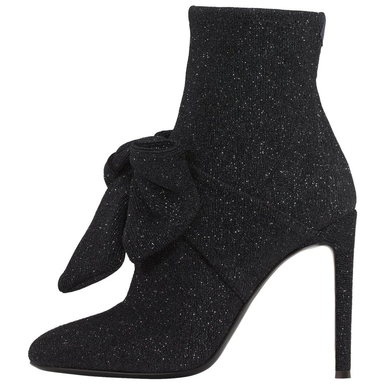 df22b673a755 Giuseppe Zanotti Bow Black Sparkle Evening Sock Boots Booties For Sale