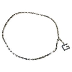 GUCCI Bike Chain Belt in Silver Metal Size 75