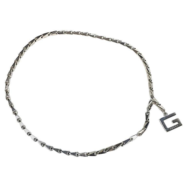 GUCCI Bike Chain Belt in Silver Metal Size 75