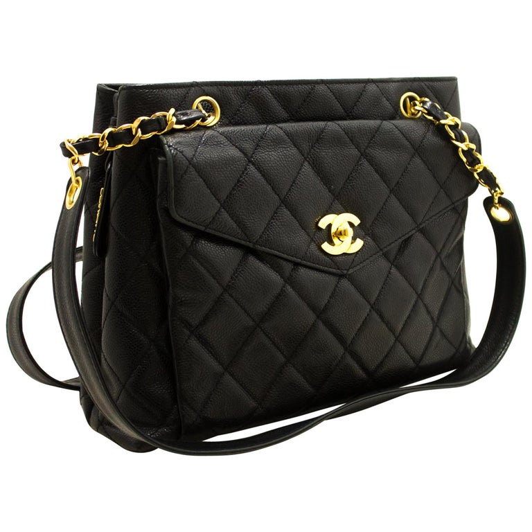 Chanel Caviar Quilted Chain Black Leather Gold Zipper Shoulder Bag