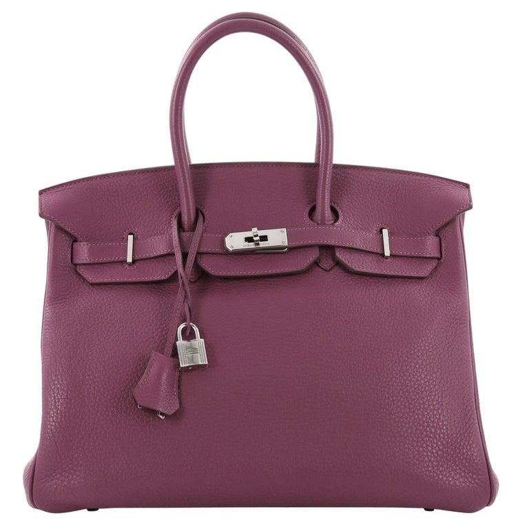 94d9e253e15f Hermes Birkin Handbag Tosca Clemence with Palladium Hardware 35 For Sale