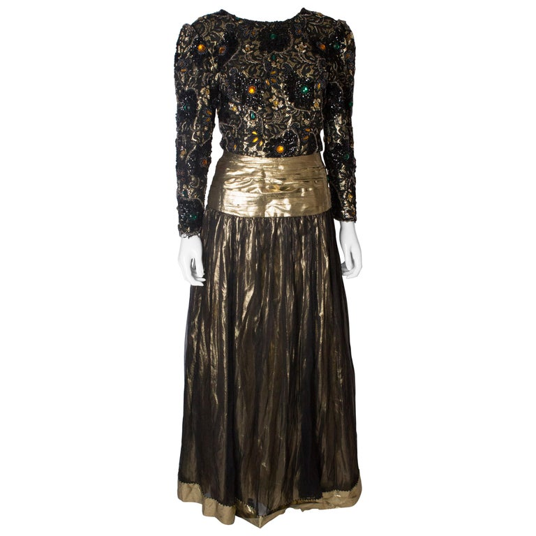 Beaded Evening Gown, 1980s For Sale