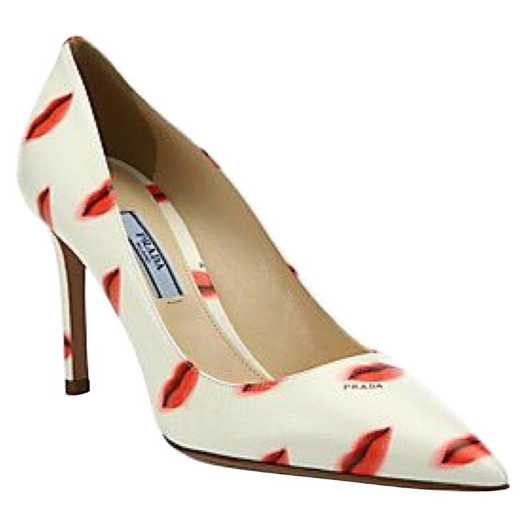 Prada Saffiano Leather Red Ivory Lip Point Toe Pumps Heels Shoes For Sale