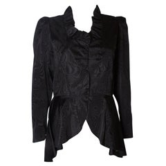 Black Moire Silk Vintage Jacket with Frill Edged Collar and Peplum