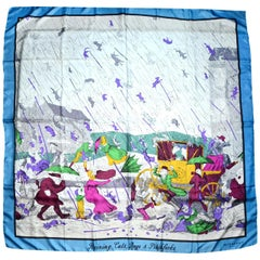 "Burberry Prorsum Blue ""Raining Cats, Dogs and Pitchforks"" XL 52"" Silk Scarf"