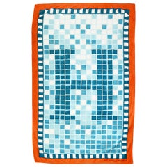 Hermes Blue/Orange Mosaic H Print Terry Cloth Cotton Beach Towel