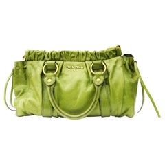 Miu Miu Green Leather Top Handle Bag
