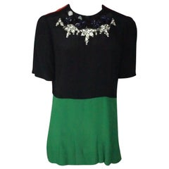Marni Black, Green & Red Short Sleeve w/ Beaded Neckline -  14