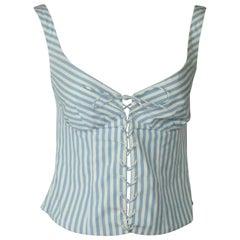 Ralph Lauren BL Blue and White Striped Bustier Crop Top - 2