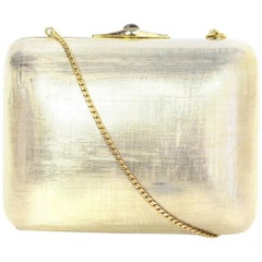 Judith Leiber Gold Minaudiere Clutch Bag w. Stone Closure & Chain Strap