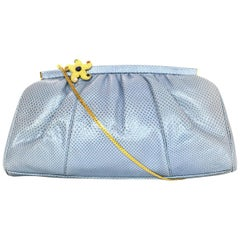Judith Leiber Powder Blue Lizard Clutch Crossbody Bag with Jeweled Starfish