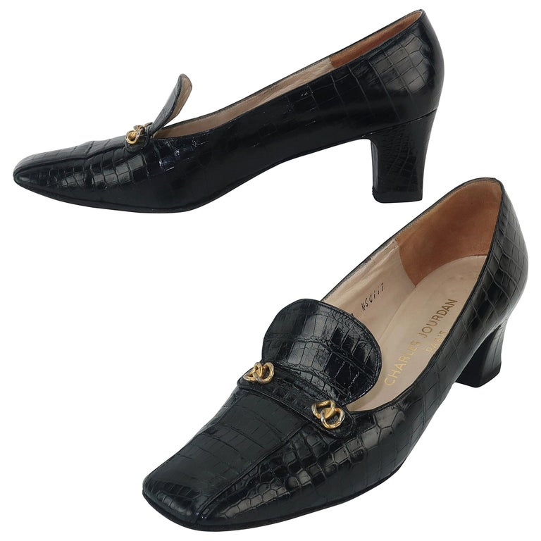 C.1960 Charles Jourdan Black Crocodile Heeled Loafers Shoes For Sale