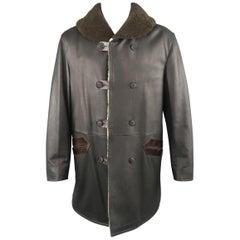 GIORGIO ARMANI Coat - US 40 Black Brown And Olive Shearling Jacket