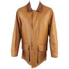 MARTIN DINGMAN Coat - Size M Tan Quilted Leather Patch Flap Pocket Coat Jacket