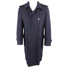 BOSS HUGO BOSS 42 Navy Woven Wool / Cotton Trench Coat