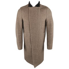 3.1 PHILLIP LIM XS Brown Diagonal Stripe Wool Blend Fur Collar Coat