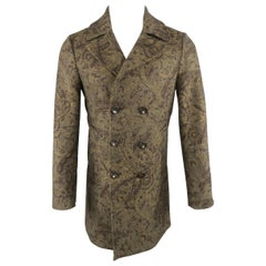 BRIAN DALES Coat - US36 Olive Paisley Wool Blend Double Breasted Peacoat