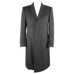 GUCCI Coat - Size US40 Dark Gray Wool Hidden Placket Notch Lapel Coat