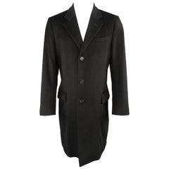 YVES SAINT LAURENT by TOM FORD US40 Black Wool Notch Lapel Coat