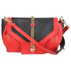 Moschino Bicolor Red Black Leather Shoulder Bag