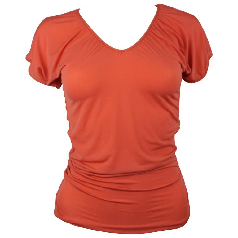Jean Paul Gaultier Femme Ruched Sleeve Orange Top, Size 4
