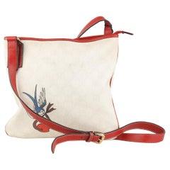Gucci White Monogram Canvas Heart Bird Tattoo Messenger Bag
