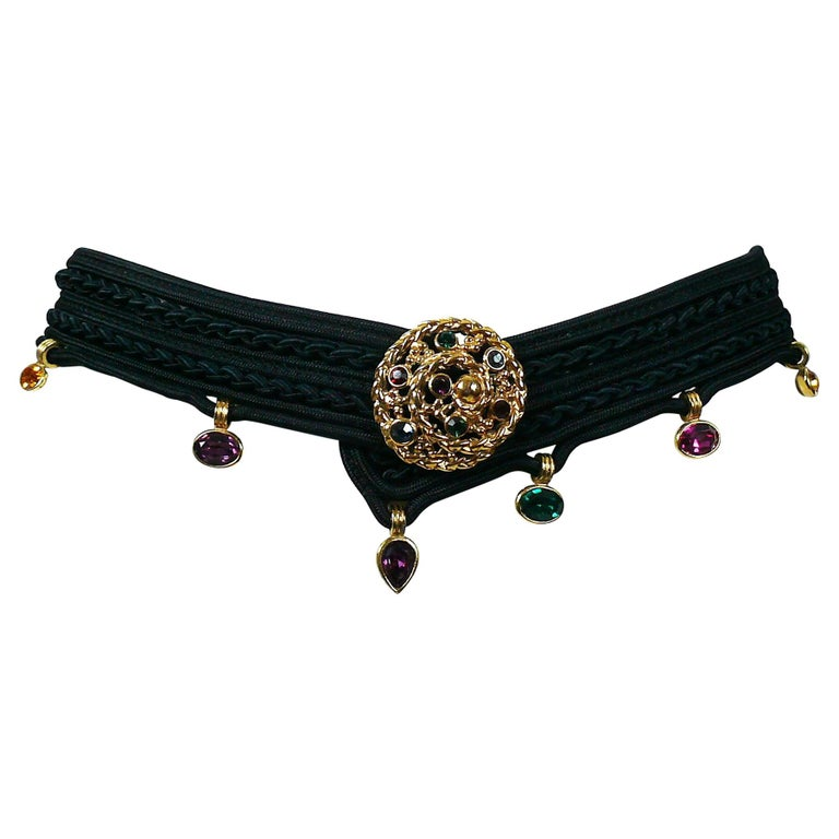 Yves Saint Laurent YSL Vintage Jewelled Black Passementerie Belt
