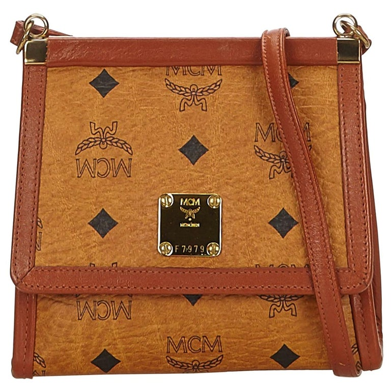 a9cad2f46 MCM Brown Visetos Leather Crossbody Bag at 1stdibs