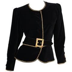 Yves Saint Laurent Rive Gauche Vintage Velvet Jacket - black