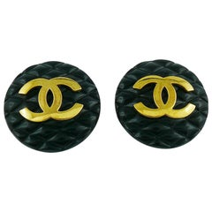 Chanel Vintage 1994 Large Black Quilted Logo Clip-On Earrings