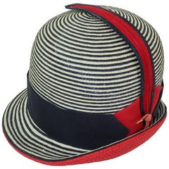 Mod 1960's Yves Saint Laurent Red White & Blue Straw Hat