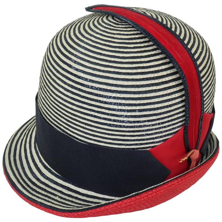 Mod 1960 s Yves Saint Laurent Red White and Blue Straw Hat For Sale ... 0266a9cbae02