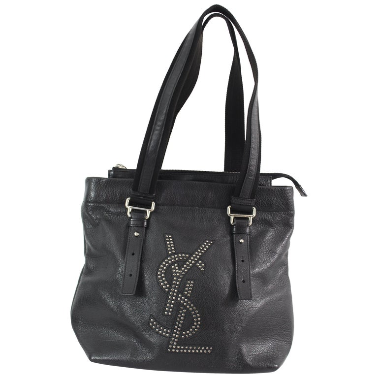 Yves Saint Laurent Vintage YSL Studdent Logo BlackLeather Shoulder Bag