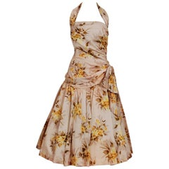 1950's Marigold Floral Print Rayon Ruched Halter Bow Circle-Skirt Dress & Bolero