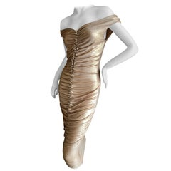 Dolce & Gabbana D&G Vintage Gold Gathered Cocktail Dress
