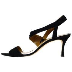 Manolo Blahnik Black Suede Ankle Strap Sandals Sz 39.5