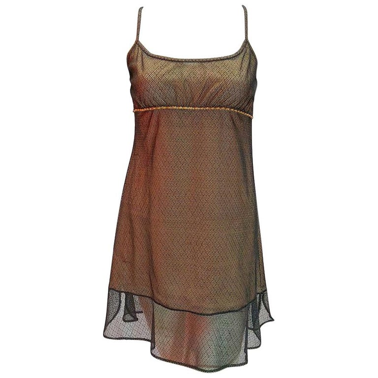 Chanel Nude Slip Dress With Mesh Overlay For Sale