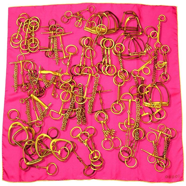 "Gucci Pink Chain & Horsebit Print 26"" Silk Scarf"