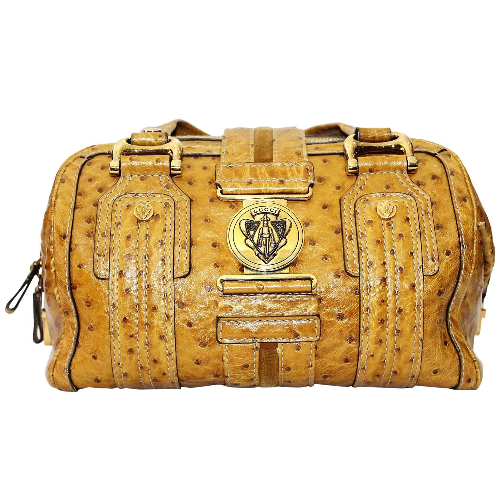 Gucci Aviatrix Boston Ostrich Leather Bag