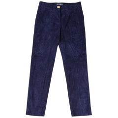 Salvatore Ferragamo Pant Blue Suede Gold Logo Closure High Waisted 38 / 4
