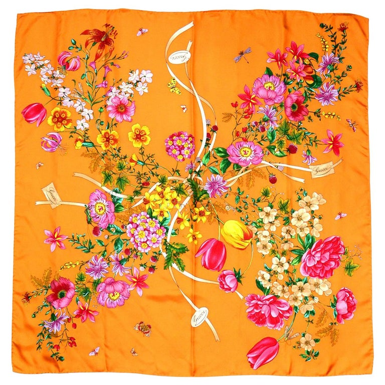 "Gucci Silk Orange Mixed Floral Pattern Scarf 34""  For Sale"