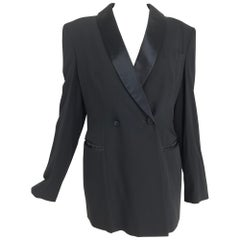 Giorgio Armani Womens Classic Tuxedo Jacket Black Wool and Satin