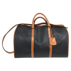 Bottega Veneta Black and Tan Leather carry on Duffel Bag