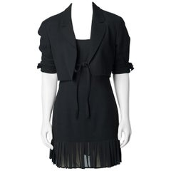 Claude Montana 1980s Black Skirt Suit Mini Dress and Cropped Jacket