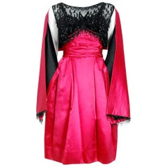1950's Couture Fuchsia Pink Satin Beaded Illusion Shelf-Bust Party Dress w/Shawl