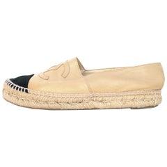 Chanel Tan/Black Leather/Canvas Espadrille Cap Toe Shoes Sz 38